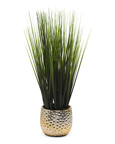 Faux Grass In Ceramic Pot