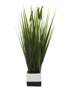 Faux Grass In Color Block Pot