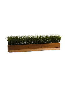 Faux Grass In Gold Stained Wood Pot