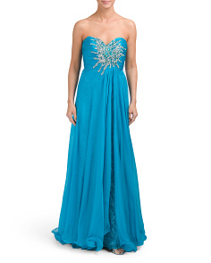 Sweetheart Embellished Silk Gown