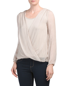 Made In Italy Front Wrap Silk Top