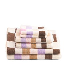 6pc Checkerboard Towel Set