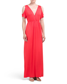 Made In USA Cold Shoulder Jersey Maxi Dress