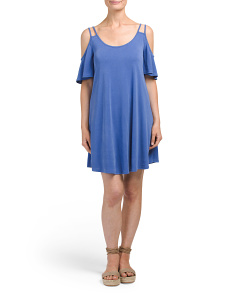 Made In USA Flutter Cold Shoulder Dress