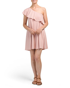 Made In USA One Shoulder Ruffle Dress