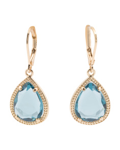 Crystal Teardrop Earrings With Textured Gold Tone Bezel