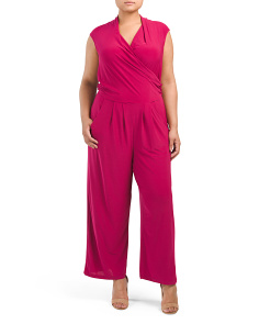 Plus Juniors Surplice Jumpsuit