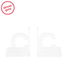 Set Of 2 Acrylic Initial Bookends