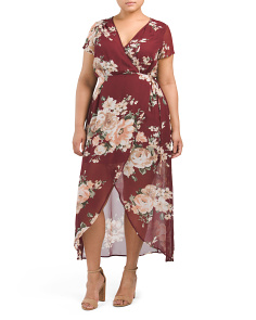 Plus Juniors Floral Wrap Maxi Dress
