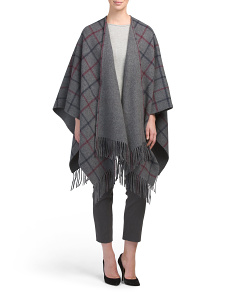 Made In Italy Saiome Wool Blend Plaid Poncho
