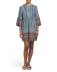 Bell Sleeve Printed Dress