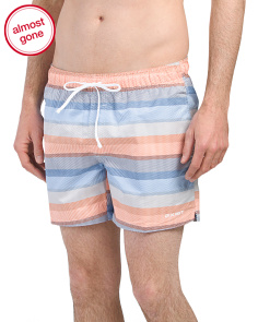 Mixed Stripe Print Swim Shorts