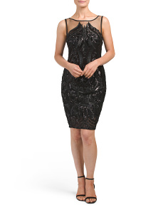 Petite Illusion Mesh Sheath Dress