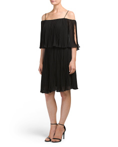 Pleated Off The Shoulder Dress With Straps
