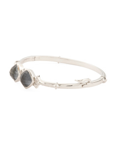 Made In UK Sterling Silver Crystal Haze Bangle Bracelet