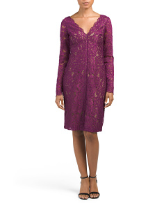 Long Sleeve V Neck Lace Dress
