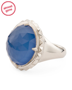 Made In UK Sterling Silver Blue Agate Spinning Ring