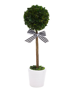 21in Faux Boxwood Topiary With Bow
