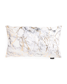 14x24 Marble Printed Velvet Pillow