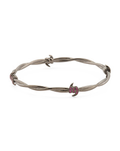 Made In UK Sterling Silver Ruby Barb Bangle Bracelet