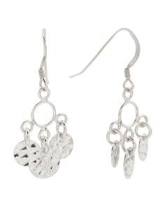 Made In India Sterling Silver Chandelier Disk Earrings