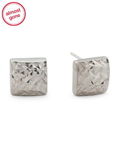 Made In India Sterling Silver Diamond Cut Square Earrings