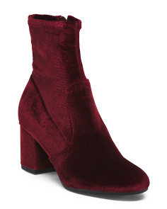 Velvet Low Block Heel Booties