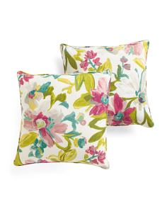 Made In USA Indoor/Outdoor 18x18 2pk Floral Pillows
