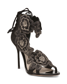 Leather Sandals With Floral Details
