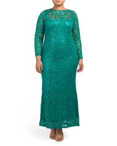 Plus Long Sleeve Lace Gown