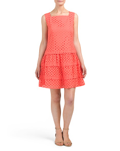 Eyelet Tiered Fit & Flare Dress