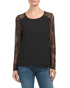 Made In Italy Lace Long Sleeve Top
