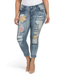 Plus Juniors Gypsy Patch Jeans