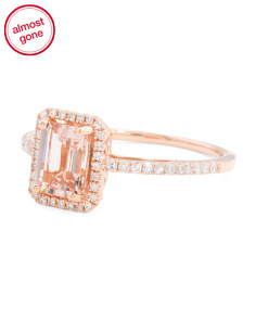 14k Rose Gold Morganite And Diamonds Emerald Cut Ring