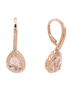 14k Rose Gold Morganite And Diamond Pear Drop Earrings