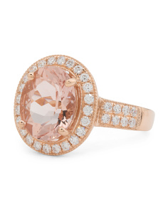 18k Rose Gold Morganite And Diamonds Oval Ring