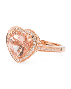 14k Rose Gold Morganite And Diamonds Heart Shaped Ring
