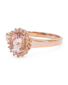 14k Rose Gold Morganite And Diamonds Oval Ring