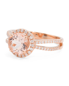 14k Rose Gold Morganite And Diamonds Split Shank Ring