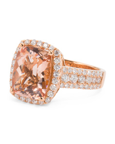 18k Rose Gold Morganite And Diamonds Ring