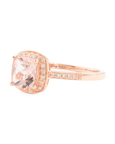 14k Rose Gold Morganite And Diamonds Cushion Cut Ring