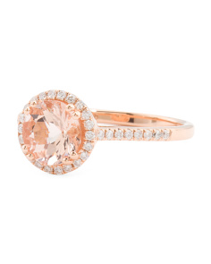 14k Rose Gold Morganite And Diamonds Round Ring