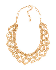 Beaded Bib Necklace In Gold Tone