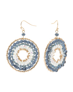 Beaded Circle Drop Earrings In Gold Tone