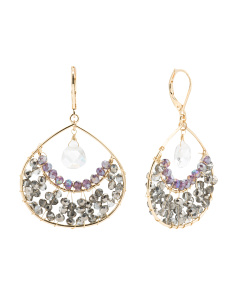 Beaded Teardrop Earrings In Gold Tone