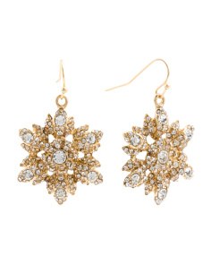 Crystal Flower Earrings In Worn Gold Tone