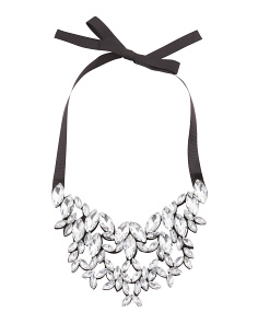 Crystal Statement Necklace On Black Ribbon