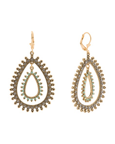 Double Crystal Teardrop Lever Back Earrings In Gold Tone