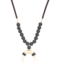 Lava Bead Horn Necklace