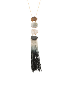 Ombre Tassel Necklace In Gold Tone